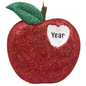 New York Heart Glitter Personalized Christmas Ornament