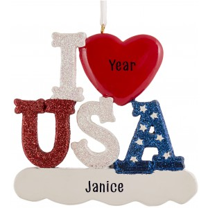 I Love USA Personalized Christmas Ornament