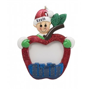 Elf With Photo Frame Personalized Christmas Ornament
