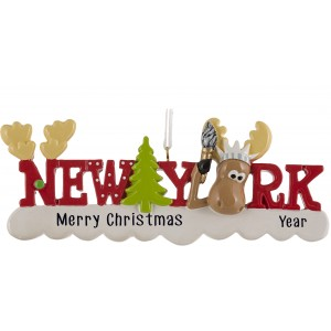 New York Words Reindeer Personalized Christmas Ornament
