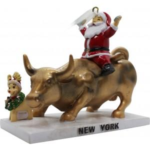 3D Wall Street Bull with Santa Ornament