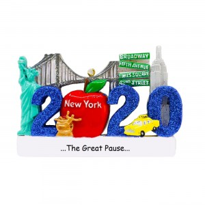 New York 2020 Blue Personalized Christmas Ornament