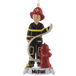 Fireman With Red Hat Personalized Christmas Ornament