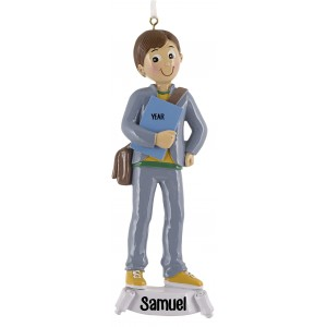 Student Boy Personalized Christmas Ornament