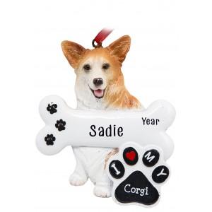 Corgi Dog Personalized Christmas Ornament