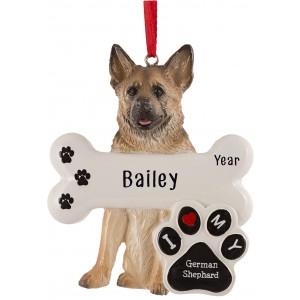 German Shepherd Dog Personalized Christmas Ornament