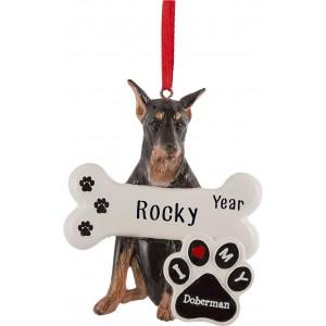 Doberman Dog Personalized Christmas Ornament