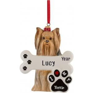 Yorkie Dog Personalized Christmas Ornament