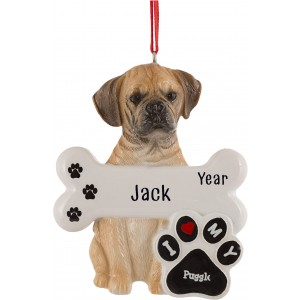 Puggle Dog Personalized Christmas Ornament