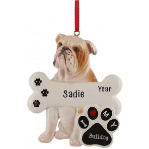 Bulldog Personalized Christmas Ornament