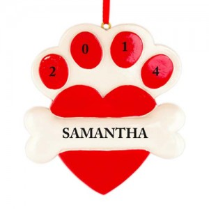 Heart Paw Red Personalized Christmas Ornament