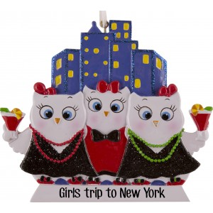 Girls Night Out Owls W3 Personalized Christmas Ornament