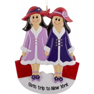Girlfriends Purple With 2 Personalized Christmas Ornament