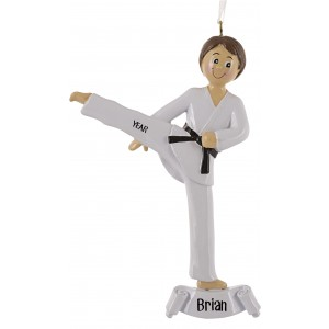Karate Boy Personalized Christmas Ornament