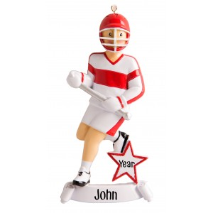 Lacrosse Boy Red Personalized Christmas Ornament