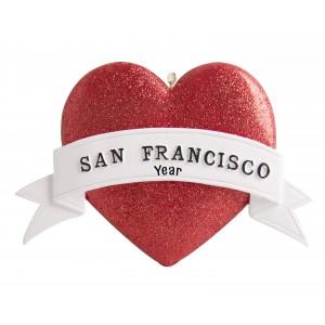 San Francisco Heart Glitter Personalized Christmas Ornament