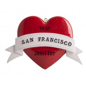 San Francisco Heart Non Glitter Personalized Christmas Ornament