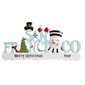 San Francisco Word Snowman Personalized Christmas Ornament