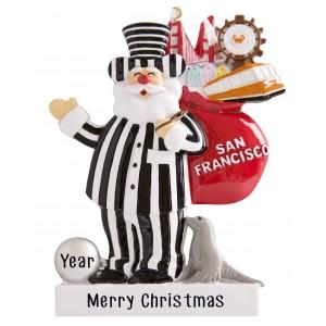 San Francisco Alcatraz Santa Carrying Personalized Christmas Ornament