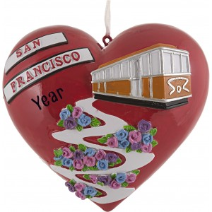 San Francisco Lombard Tree Personalized Christmas Ornament