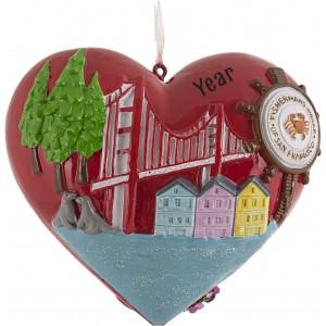 San Francisco Heart Golden Gate Bridge Personalized Christmas Ornament