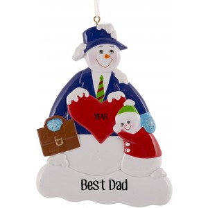Snow Family Dad Personalized Christmas Ornament