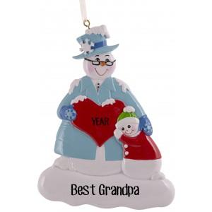 Snow Family Grandpa Personalized Christmas Ornament