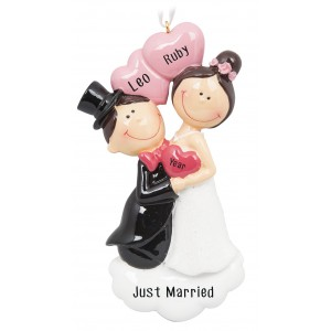 Happy Proposal Wedding Couple Personalized Christmas Ornament