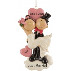 Happy Wedding Couple Personalized Christmas Ornament