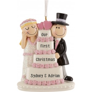 Wedding Cake Couple Personalized Christmas Ornament