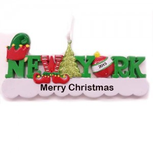 New York Words Elf Personalized Christmas Ornament