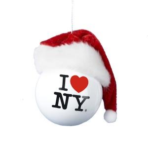 """I Love NY"" with Santa Claus Hat Christmas Ball Ornament"