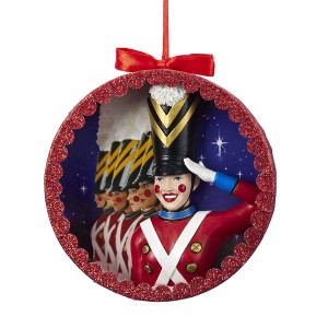 Rockettes Toy Soldier Round Shadow Box Christmas Ornament