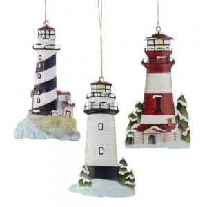 "5.25""Tin Lighthouse Orn 3/Asstd"