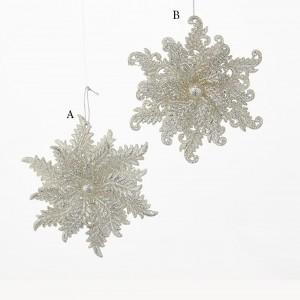 """4.75"""" Acrylic Silver Glitter Snowflake Ornament"""