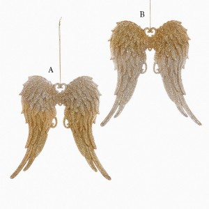 """5.7"""" Gold/Silver Angel Wings Ornament"""
