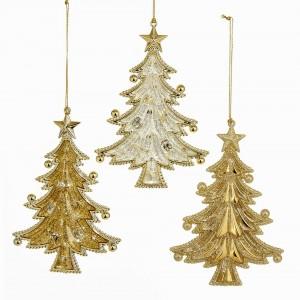 "5""Acrylic Gold Tree Orn 3/Asstd"