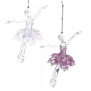 "6""Acrylic Pnk/Wht Ballet Girl Orns"