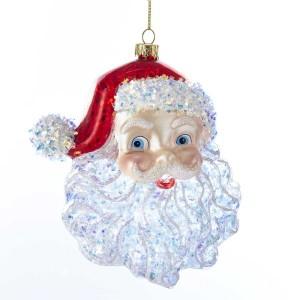 "5""Glass Santa Head Orn"