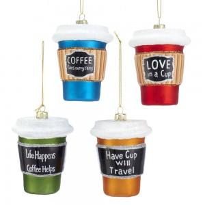 "3.5""Glass Coffee Cup Orn 4/Asstd"