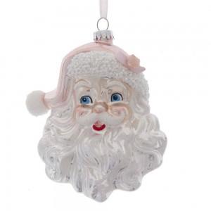"5.9""Glass White/Pink Santa Head Orn"