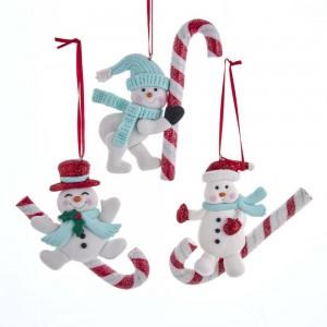 "4""Retro Snowman On Candycane Orn 3A"