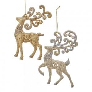 "6""Plstc Gold/Plat Reindeer Orns"