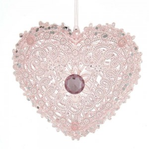 "4.5""Plastic Pink Heart W/Gem Orn"