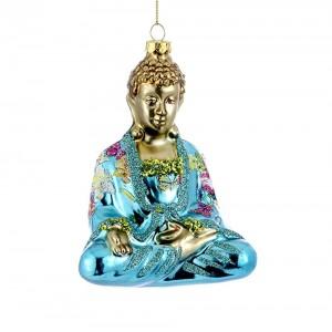 "5.25"" Glass Buddha Ornament"