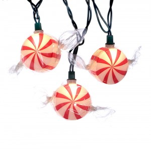 10/L Red Peppermint Candy Light Set