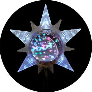 LED Lighted Star with Revolving Globe Christmas Tree Topper