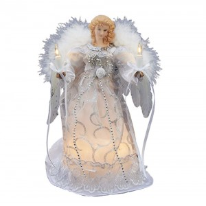 "10/L 9"" White/Silver Angel Tree Topper"