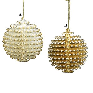 Silver or Gold Pinecone Ball Christmas Ornament