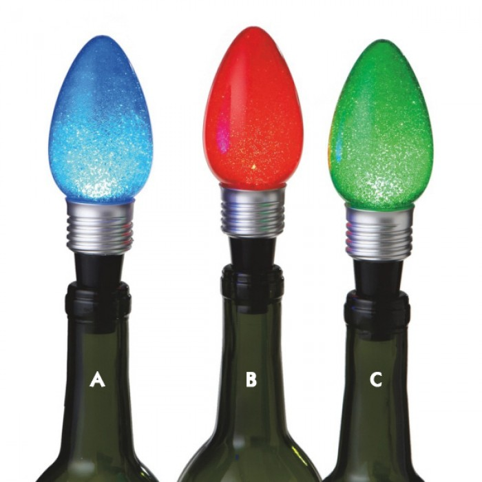 Lighted Christmas Light Bulb Wine Bottle Stoppers - Christmas and City